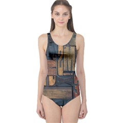 Letters Wooden Old Artwork Vintage One Piece Swimsuit