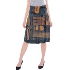 Letters Wooden Old Artwork Vintage Midi Beach Skirt