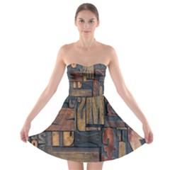 Letters Wooden Old Artwork Vintage Strapless Bra Top Dress