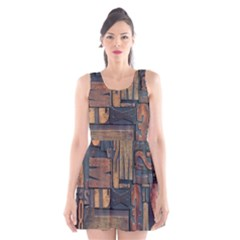 Letters Wooden Old Artwork Vintage Scoop Neck Skater Dress