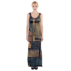 Letters Wooden Old Artwork Vintage Maxi Thigh Split Dress