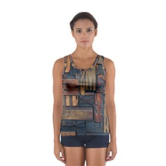 Letters Wooden Old Artwork Vintage Women s Sport Tank Top