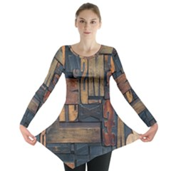 Letters Wooden Old Artwork Vintage Long Sleeve Tunic