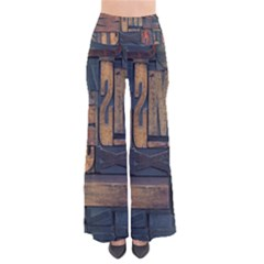 Letters Wooden Old Artwork Vintage Pants