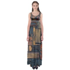 Letters Wooden Old Artwork Vintage Empire Waist Maxi Dress