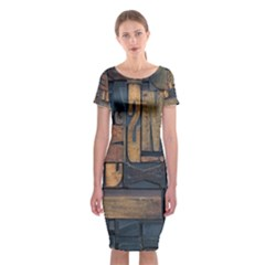 Letters Wooden Old Artwork Vintage Classic Short Sleeve Midi Dress