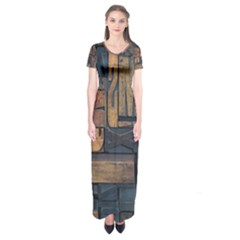 Letters Wooden Old Artwork Vintage Short Sleeve Maxi Dress