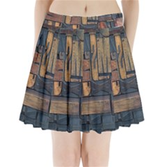 Letters Wooden Old Artwork Vintage Pleated Mini Skirt