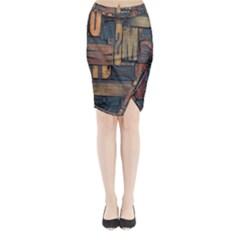Letters Wooden Old Artwork Vintage Midi Wrap Pencil Skirt