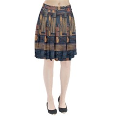 Letters Wooden Old Artwork Vintage Pleated Skirt