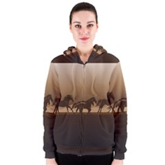 Brown Horses Running Women s Zipper Hoodie