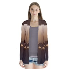 Brown Horses Running Drape Collar Cardigan