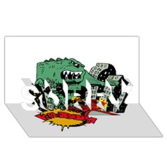Monster SORRY 3D Greeting Card (8x4)