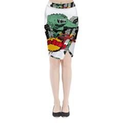 Monster Midi Wrap Pencil Skirt