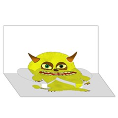Monster Troll Halloween Shudder  Twin Heart Bottom 3D Greeting Card (8x4)