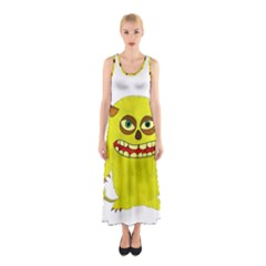 Monster Troll Halloween Shudder  Sleeveless Maxi Dress