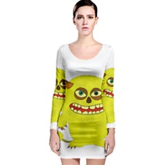 Monster Troll Halloween Shudder  Long Sleeve Bodycon Dress