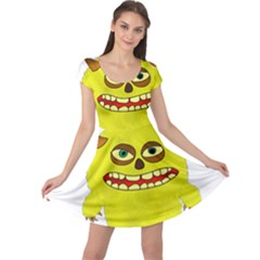 Monster Troll Halloween Shudder  Cap Sleeve Dresses
