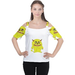 Monster Troll Halloween Shudder  Women s Cutout Shoulder Tee