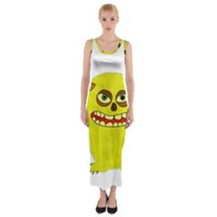 Monster Troll Halloween Shudder  Fitted Maxi Dress