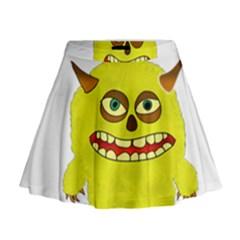 Monster Troll Halloween Shudder  Mini Flare Skirt