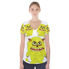 Monster Troll Halloween Shudder  Short Sleeve Front Detail Top