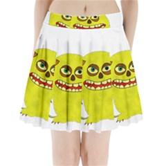 Monster Troll Halloween Shudder  Pleated Mini Skirt