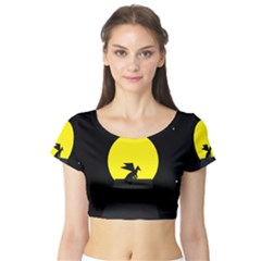 Moon And Dragon Dragon Sky Dragon Short Sleeve Crop Top (Tight Fit)
