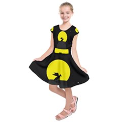 Moon And Dragon Dragon Sky Dragon Kids  Short Sleeve Dress