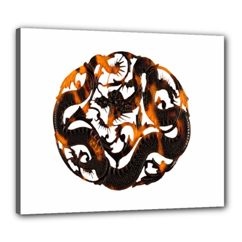 Ornament Dragons Chinese Art Canvas 24  x 20