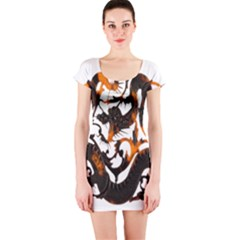 Ornament Dragons Chinese Art Short Sleeve Bodycon Dress