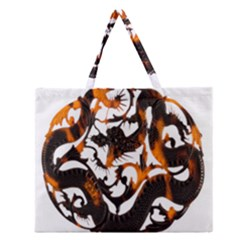 Ornament Dragons Chinese Art Zipper Large Tote Bag