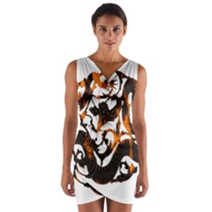 Ornament Dragons Chinese Art Wrap Front Bodycon Dress