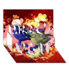 Ove Hearts Cute Valentine Dragon Miss You 3D Greeting Card (7x5)