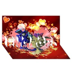 Ove Hearts Cute Valentine Dragon ENGAGED 3D Greeting Card (8x4)