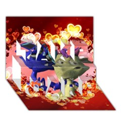 Ove Hearts Cute Valentine Dragon TAKE CARE 3D Greeting Card (7x5)