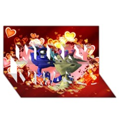 Ove Hearts Cute Valentine Dragon Merry Xmas 3D Greeting Card (8x4)