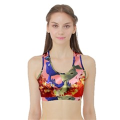 Ove Hearts Cute Valentine Dragon Sports Bra with Border