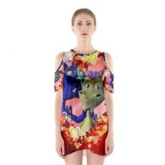 Ove Hearts Cute Valentine Dragon Cutout Shoulder Dress
