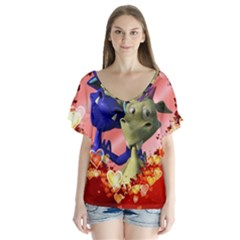 Ove Hearts Cute Valentine Dragon Flutter Sleeve Top