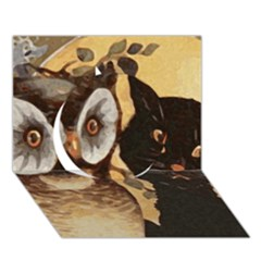 Owl And Black Cat Circle 3D Greeting Card (7x5)