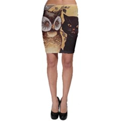 Owl And Black Cat Bodycon Skirt