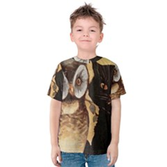 Owl And Black Cat Kids  Cotton Tee