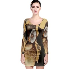 Owl And Black Cat Long Sleeve Bodycon Dress