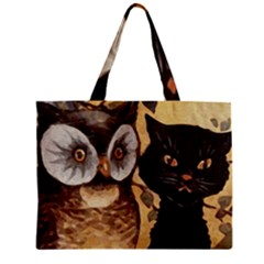 Owl And Black Cat Zipper Mini Tote Bag