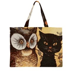 Owl And Black Cat Large Tote Bag