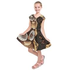 Owl And Black Cat Kids  Short Sleeve Dress