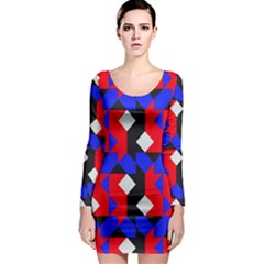 Pattern Abstract Artwork Long Sleeve Bodycon Dress