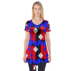 Pattern Abstract Artwork Short Sleeve Tunic