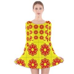 Pattern Design Graphics Colorful Long Sleeve Velvet Skater Dress